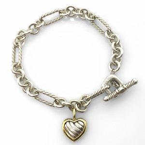 "David Yurman sterling silver & 18k gold Heart Charm Toggle Bracelet 7.5"""